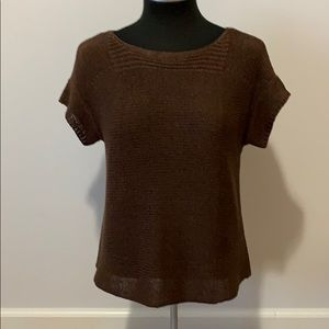 Cable & Gauge brown short sleeve sweater size S